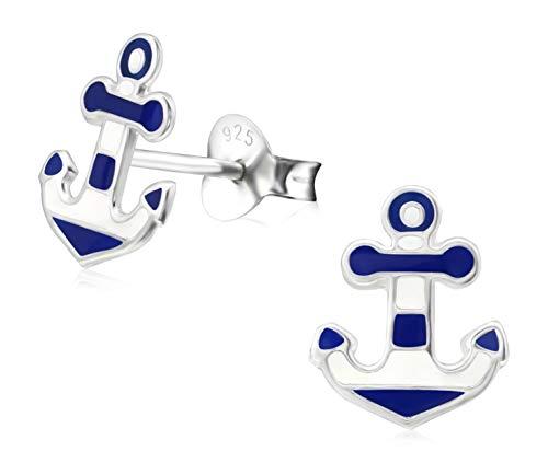Laimons Damen-Ohrstecker Anker 10mm im Maritim Design weiß blau Sterling Silber 925