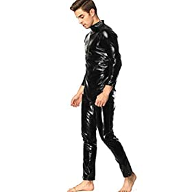 FENICAL Mens Faux Leather Wet Look DS Stage Catsuit Prisoner Patent Jumpsuits Cosplay Catsuit Club Home 5XL Black