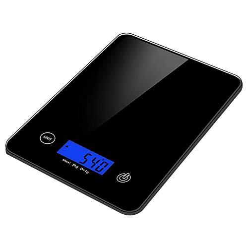 Báscula digital de cocina, báscula de pesaje de alimentos, pesa hasta 5 kg, báscula electrónica de cocina para el hogar/cocina, escala multifuncional con pantalla LCD, fácil de limpiar (negro)
