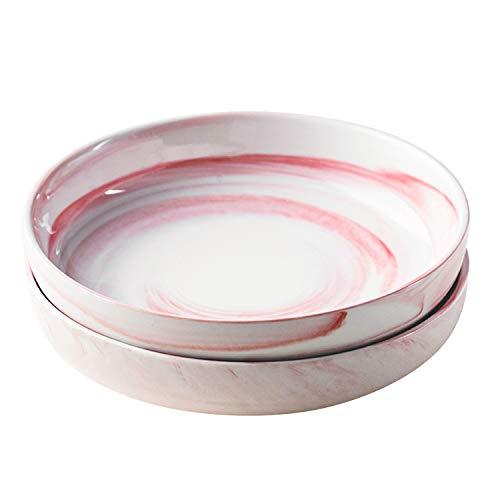 Yundu Porcelain 52 Ounce Pasta bowl Set,Large Salad bowls,Set of 2,Marble Color of Pink