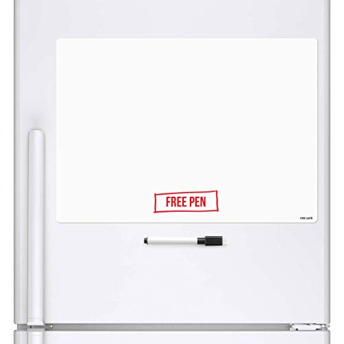 CKB LTD Blank A3 Magnetic Tableau Frigo Mémo Magnétique Conseil Réfrigérateur Magnétique avec Un marqueur Conseil - Mémo Drywipe Tableau Blanc Cuisine Notice Board Grande A3