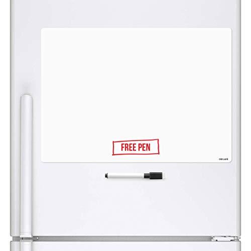 CKB Ltd® - Pizarra blanca magnética A3 borrado en seco, hoja de señalización con marcador tablero blanco y bolígrafo, tablón de notas grande con planificador