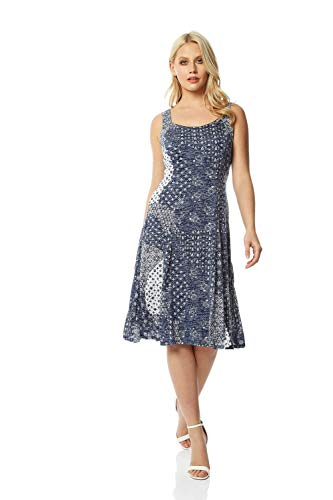 Roman Originals Fit and Flare Dress - Ladies Patchwork Geometric Skater Stretch Jersey Swing Smart Strappy Flattering Casual Holiday Party Summer Beach Sleeveless Knee Length - Blue - Size 18