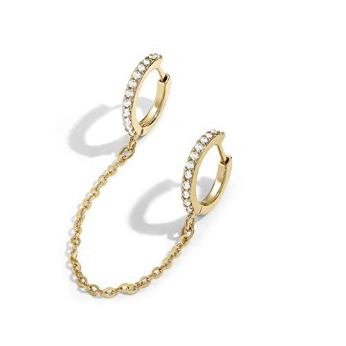 QIN 1 Uds Piercing de Oreja Oro Luna corazón Pendientes de botón de Cadena Larga para Mujer Moda CZ Borla Doble círculo Huggies joyería