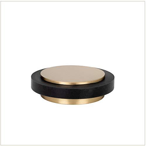 EVI Beschläge I-203/35x12-LMT Türstopper, selbstklebend, Messing, matt, schwarzer Gummi