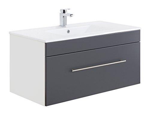 Posseik Badmöbelserie VIVA 100 Waschplatz, Anthrazit + Weiß, Waschtisch 100 cm breit Keramik Waschbecken