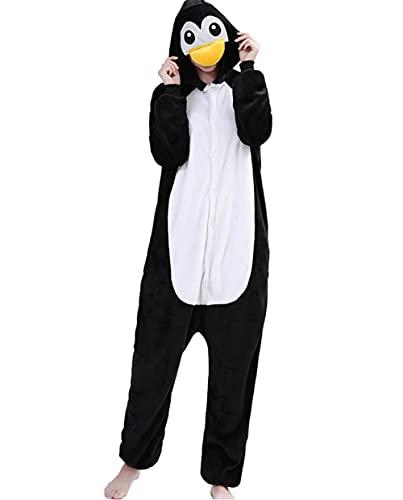 Xinlong Pijama para adultos con diseño de animales, mono, ropa de dormir con capucha, para adultos, Pijama de pingüino, M