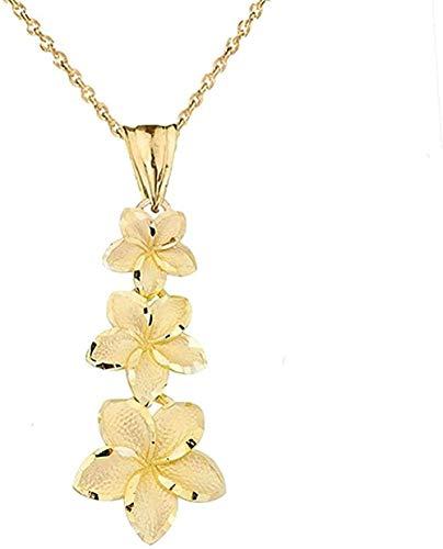 Elegante collar con colgante de flores de plumeria hawaiana de oro amarillo de 14k
