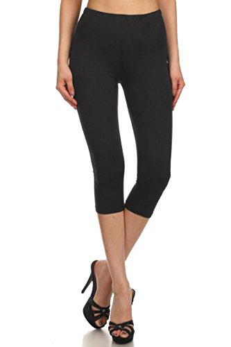 Leggings Mania Women's Solid Colored Capri Leggings Regular One Size Black