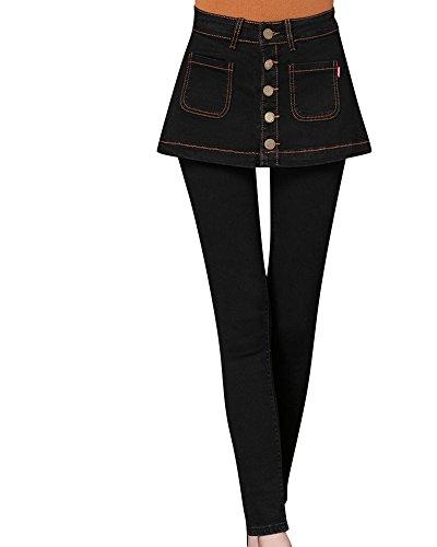 Kasen Pantalones Elásticos Skinny Slim Vaqueros Leggins Jeans para Mujer Negro 4XL