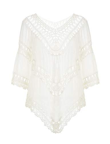 Ferand ausgehöhltes gehäkeltes Damen Poncho Bluse Tunika Top mit V-Ausschnitt, Einheitsgröße, Weiß, Einheitsgröße, Weiß