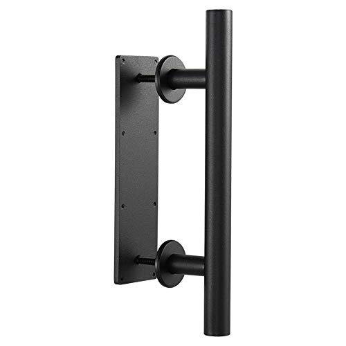 Round 12 Inch Sliding Barn Door Handle with Flush Finger Pull Powder Black