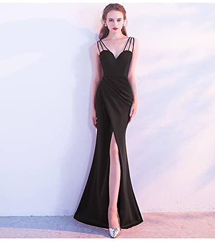 Vestido de noche de fiesta de bodas slim-fit sirena con cuello halter...