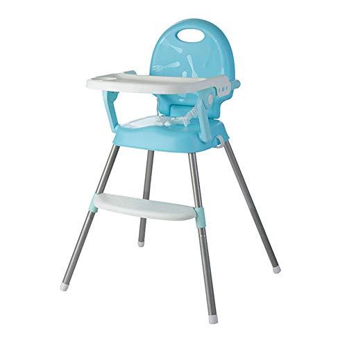 JIEER-C Cabrio hoge stoel, multifunctionele eetkamerstoel met verstelbare poten en dienblad, afneembare voetensteun, voederstoel voor baby's, peuters en peuters blauw