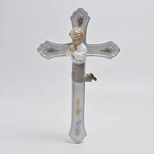 SUPERHUA Cruz de cerámica hecha a mano con oración de niño pequeño y cerámica