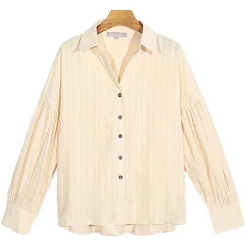 Blusa de Manga Larga con Solapa para Mujer, Bordado Retro clsico, Camisa Holgada, Informal, verstil y cmoda con Botones S