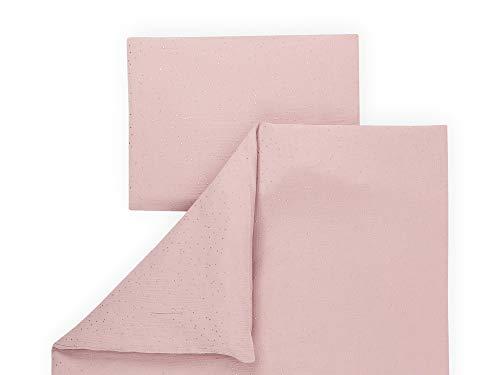 KraftKids Bettwäsche-Set Musselin goldene Punkte auf Rosa aus Kopfkissen 40 x 60 cm und Bettdecke 135 x 100 cm, Bettbezug aus Baumwolle, handgearbeitete Bettwäsche gefertigt in der EU