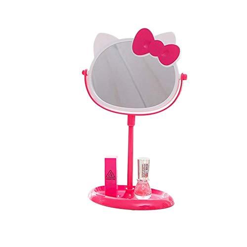 LYMUP Espejo de escritorio con base de almacenamiento, espejo HD giratorio de 180 grados, espejo de maquillaje portátil para niñas y niños, espejo de maquillaje grande (color: rosa rosa)