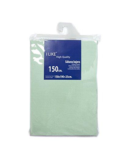 I LIKE Sabana Bajera Ajustable Verde Agua 100% ALGODÓN Cama 150 (150 X 190 + 25 cm)