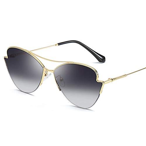 ShawnBlue Gafas de Sol, Las Nuevas señoras de Las Gafas polarizadas, protección UV, Gafas de Sol de la Moda Retro (Size : Gold Frame Gradient Gray)