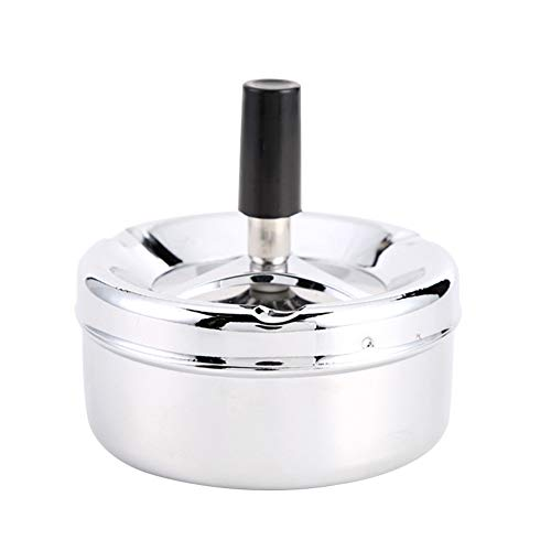 farawamu Stainless Steel Ashtray, Creative Stainless Steel Windproof Rotation Lid Home Hotel Ashtray Smoker Gift Silver