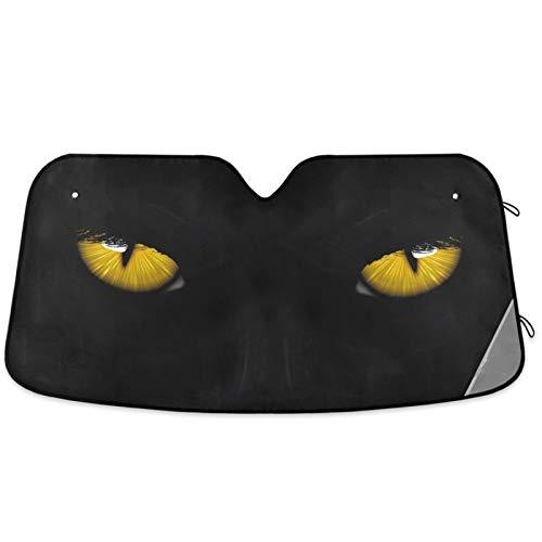 Oarencol Yellow Eyes Black Panther Car Windshield Sun Shade Foldable UV Ray Sun Visor Protector Sunshade to Keep Your Vehicle Cool (55' x 27.6')