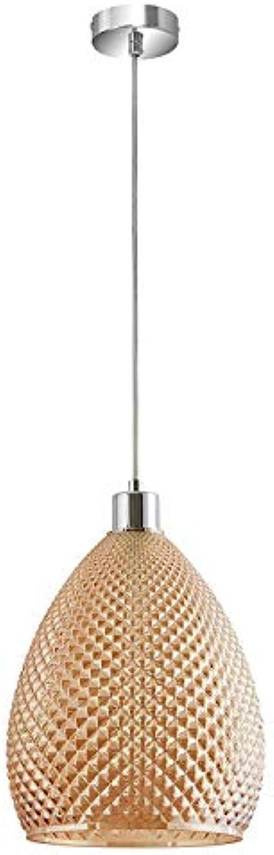 DEI QI LED-Kronleuchter, Hngeleuchte, Bernstein von  Diamond-Effekt Glas Gold, Retro Vintage-Stil-Design, Glas, Metall, E27, 24 x 120 cm