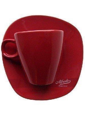 Milchkaffee-Tasse WALKÜRE rot mit Untertasse, 6 Stück