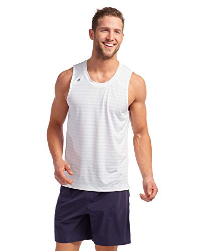 Rhone Swift Tank White Large Breathable Lightweight Moisture Wicking Anti-Odor Workout Shirt
