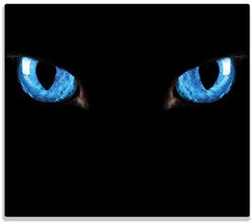 Wallario Herdabdeckplatte/Spritzschutz aus Glas, 1-teilig, 60x52cm, für Ceran- und Induktionsherde, Blaue Katzenaugen bei Nacht