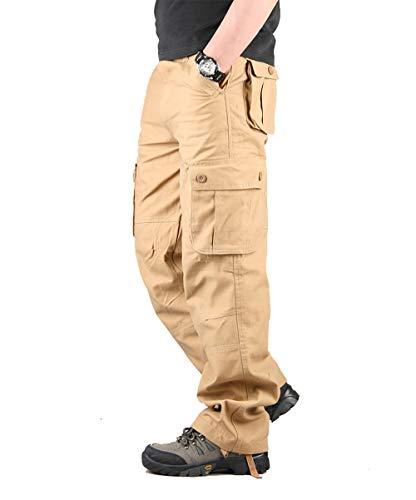 Hommes Pantalon Cargo Pantalon de Travail Style Militaire, Casual Pantalon Multi Poche Cargo Sports De Combat Pantalons en Coton pour Home, Kaki, 46 (Tag size 38)