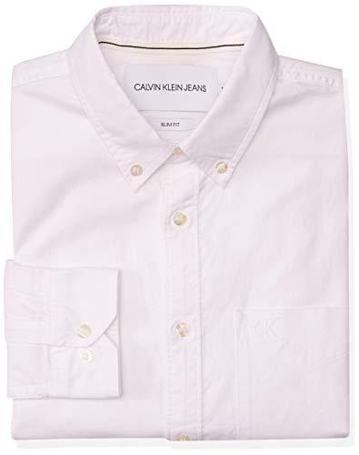 Calvin Klein Oxford Solid Slim Non Stretch Camisa con Botones, Bright White, S para Hombre