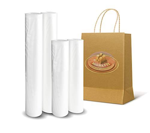 Moretti® | Buste Sacchetti Sottovuoto Alimenti | 2 Rotoli da 12 Metri Goffrati Per Sottovuoto Per Alimenti | Rotoli Professionali Per La Conserva Alimentare | BPA Free, Approvati FDA 2x (20cmx600cm)