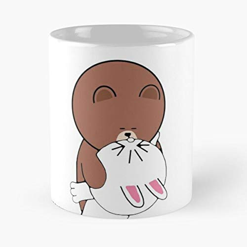 Cute Brown Bear Cony Bunny Rabbit The Kiss Classic Mug - Funny Gift Coffee Tea Cup White 11 Oz The Best Gift For Holidays Situen.