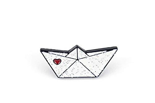 Naehgedoens.de Pin Papierboot | Weiß mit Glitzer und rotem Herz | Brosche | Anstecknadel | Anstecker