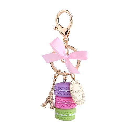 Fydun Llavero Colorido de la aleación, decoración Adorable del Encanto del Coche del Colgante del Llavero de la Torre Eiffel de los macarrones(Púrpura)