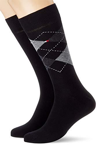Tommy Hilfiger Herren Checkered Socken, Schwarz, 43/46 (2er Pack)
