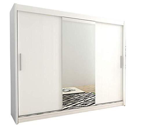 Kryspol Schwebetürenschrank Tokyo 1-250 cm mit Spiegel Kleiderschrank mit Kleiderstange und Einlegeboden Schlafzimmer- Wohnzimmerschrank Schiebetüren Modern Design (Weiß)