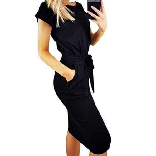 ExH Minivestido de Camiseta Larga, Suave Y Cómodo Vestido Casual de Mujer con Bolsillos Fiesta de Noche de Verano Vestido Midi Informal de Algodón Camiseta Larga Minivestido para Mujer