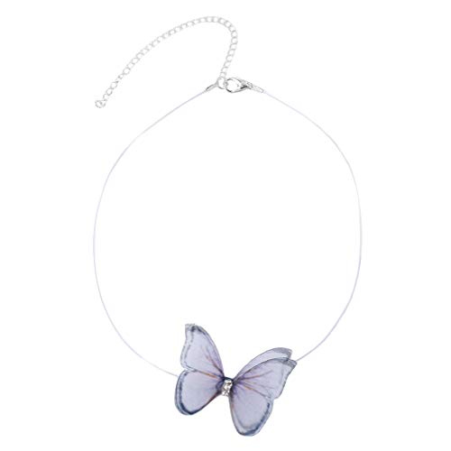 Pinhan Elegant Butterfly Transparent Fish Line Necklace Korean Style Butterfly Choker Adjustable Clavicle Necklace for Women Ladies,White + Powder + Black (NO.9)