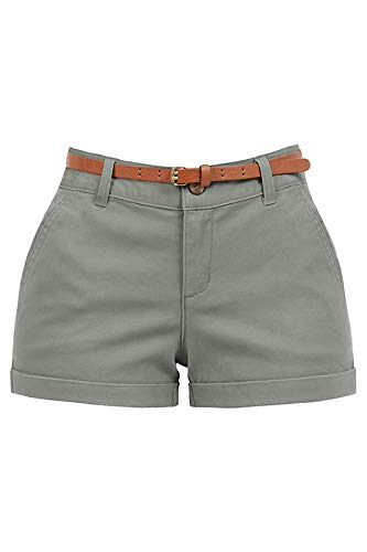 RK RUBY KARAT Womens Stretchy Brushed Twill Low Rise Cuffed Belted Shorts with Pockets, Militarygreen, Small