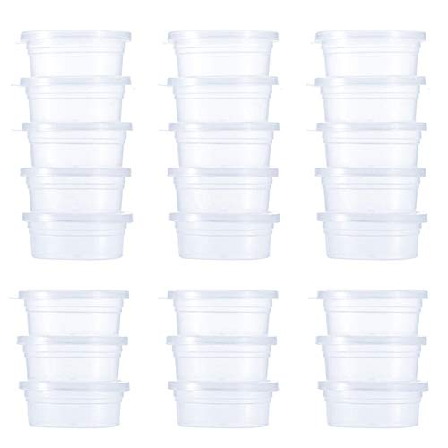 Contenitori per slime e palline in polistirolo, confezione da 24 pezzi, in plastica trasparente, a prova di perdite, con coperchi