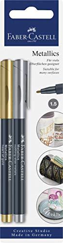 Faber-Castell 160796 - Metallics Marker mit Faserspitze, 1,5 mm Strichstärke, für viele Oberflächen geeignet, mit Metalliceffekt in gold und silber, 2er Set