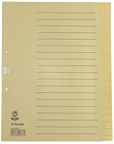 Esselte Register für A4 Formate, 20 Trennblätter, Taben mit alphabetischem Aufdruck A-Z, Überbreite und halbe Höhe, Chamois, 100% recyceltes Papier, Blauer Engel Siegel, 18496