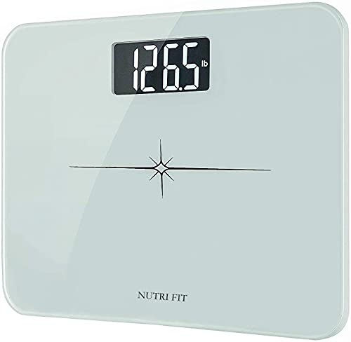 """NUTRI FIT High Precision Digital Body Weight Bathroom Scale with Ultra Wide Platform and Easy-to-Read Backlit LCD, 400 Pounds Elegant White (14""""x12"""")"""