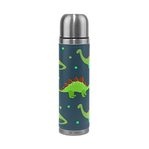 Ahomy Bouteille Isotherme à Double paroi en Acier Inoxydable Motif Dinosaures et Empreintes de Pieds Vert 0,5 l