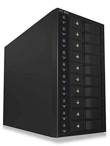 ICY BOX 10-voudige harde schijf toren voor 10 x 3,5 inch HDD, afzonderlijk schakelbaar, USB 3.0, EasySwap, staal, ventilator, UK-voeding