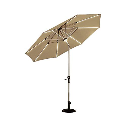 Sdesign 2.7M Ivory Parasol Garden Umbrella Sun Shading | Polyester | Crank Mechanism | Protection UV 40+ Solar LED Lights without Base (Color : Green) (Color : Yellow)