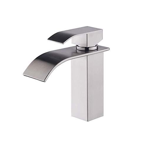 Lardecor - Grifo de Lavabo de Acero inoxidable - Monomando para Agua Fría y Caliente - MARMORE SILVER (Mod. 4099)