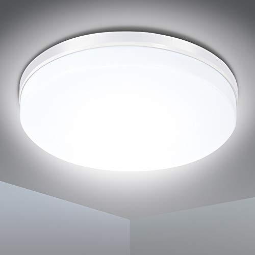 Plafoniera LED Soffitto 24W, SOLMORE Lampada a Soffitto 2200LM Impermeabile IP54 Bianco Diurno 5000K Uniforme, Alta Luminosità, Super Leggero, Plafoniera Moderna per Bagno Camera da Letto Corridoio